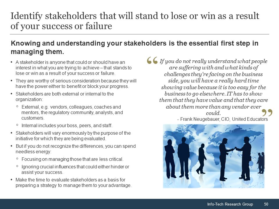 Info-Tech Research Group50 Knowing and understanding your stakeholders is the essential first step in managing them.