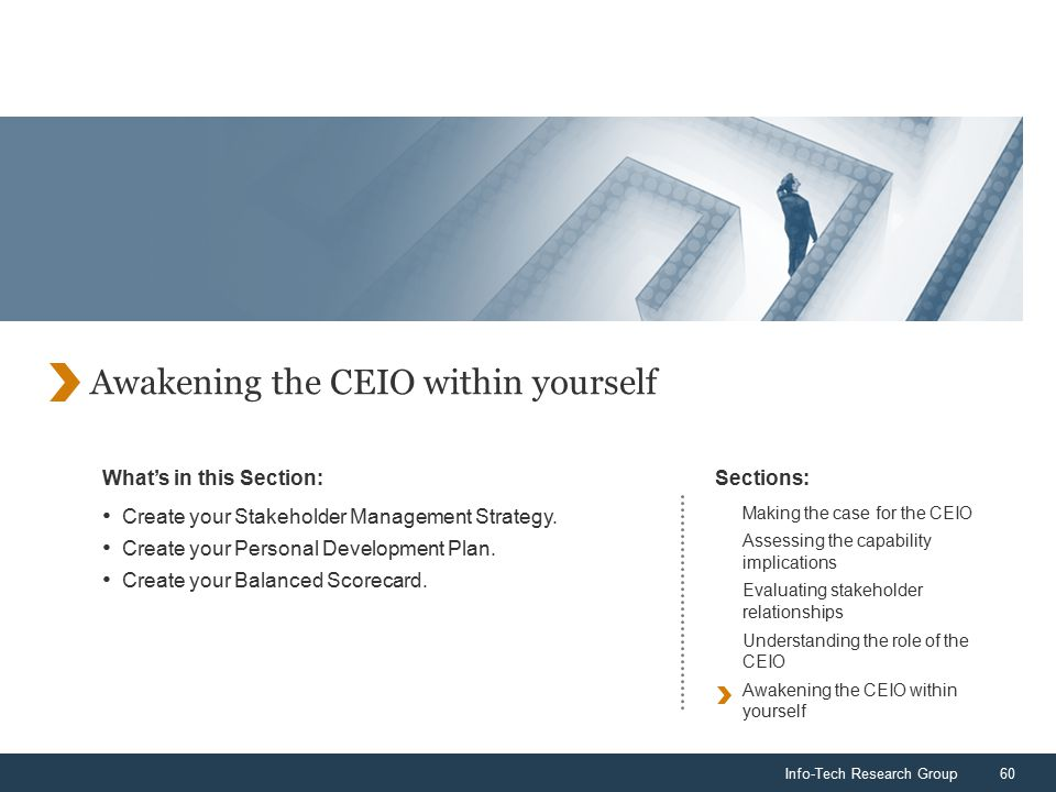 Info-Tech Research Group60 What's in this Section:Sections: Awakening the CEIO within yourself Create your Stakeholder Management Strategy.