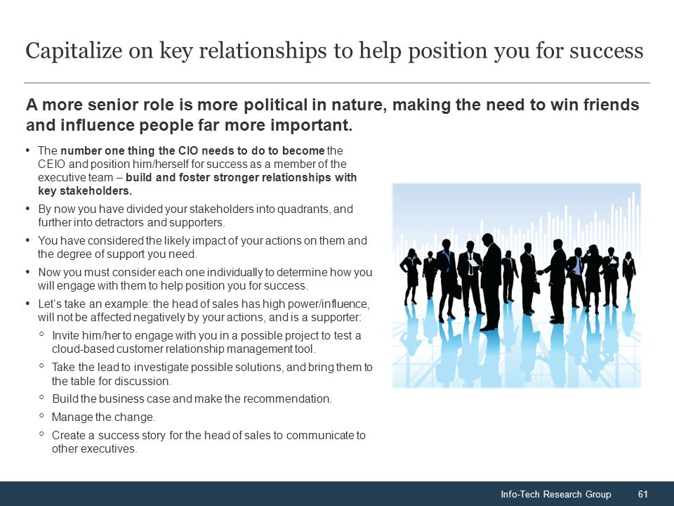 Info-Tech Research Group61 A more senior role is more political in nature, making the need to win friends and influence people far more important. Capi