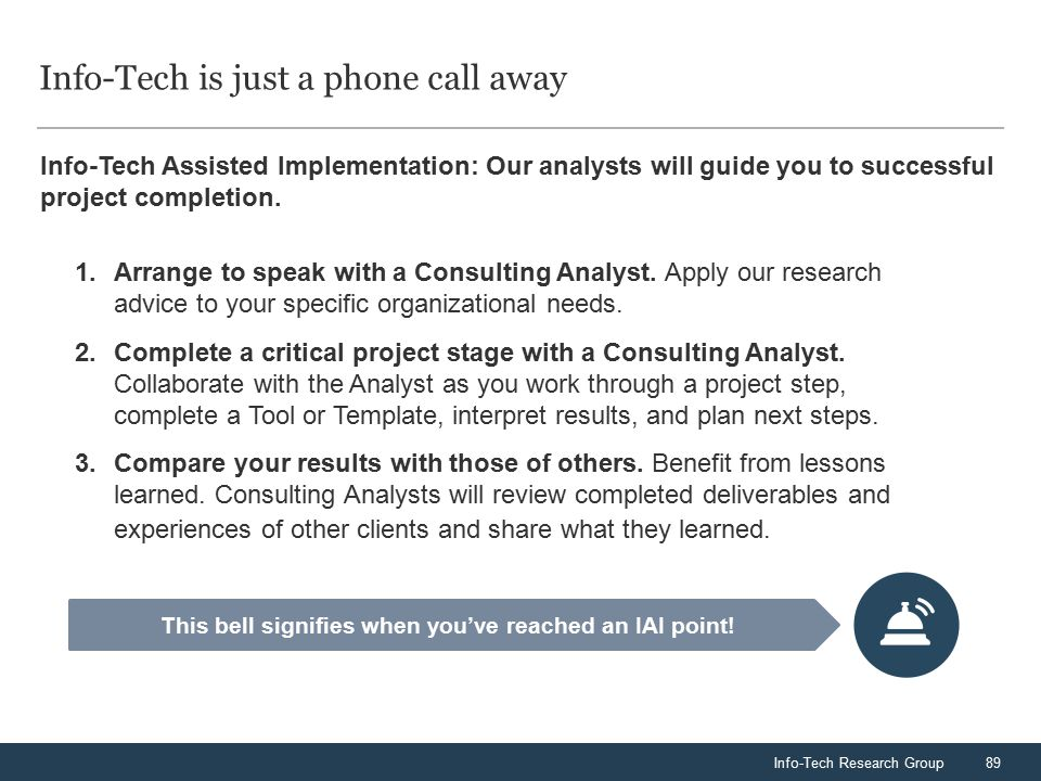 Info-Tech Research Group89 Info-Tech is just a phone call away Info-Tech Assisted Implementation: Our analysts will guide you to successful project co