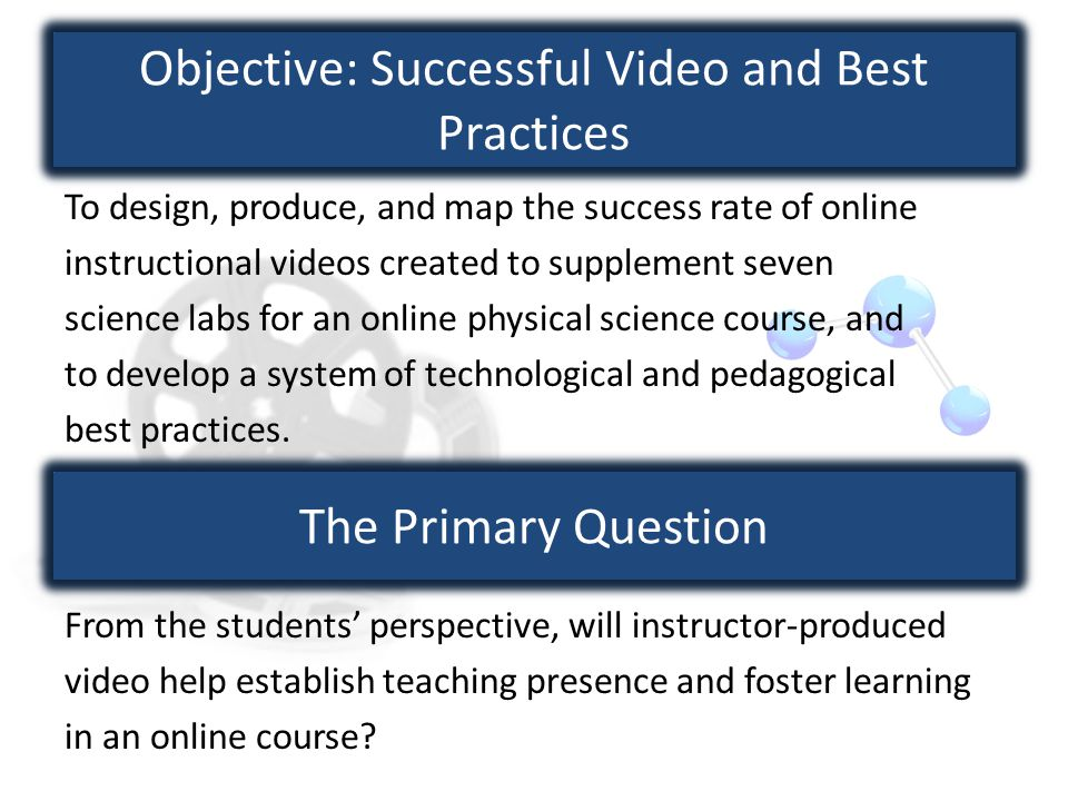 Objective: Successful Video and Best Practices To design, produce, and map the success rate of online instructional videos created to supplement seven science labs for an online physical science course, and to develop a system of technological and pedagogical best practices.