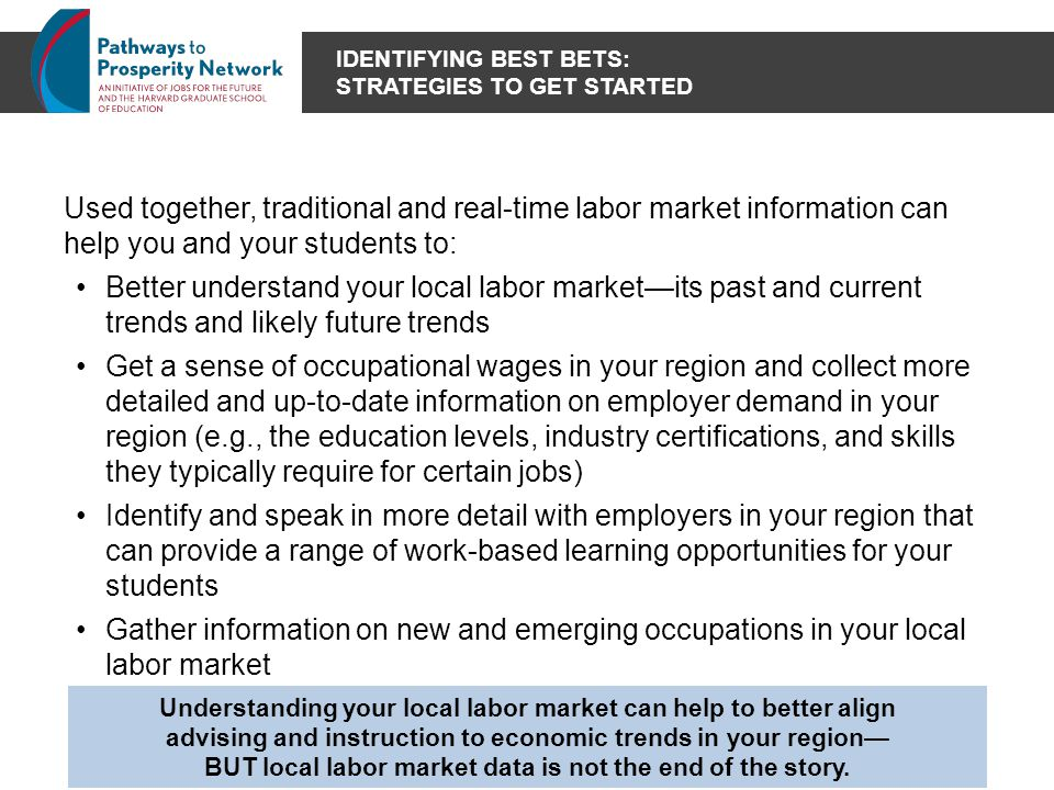 IDENTIFYING BEST BETS: STRATEGIES TO GET STARTED Used together, traditional and real-time labor market information can help you and your students to: Better understand your local labor market—its past and current trends and likely future trends Get a sense of occupational wages in your region and collect more detailed and up-to-date information on employer demand in your region (e.g., the education levels, industry certifications, and skills they typically require for certain jobs) Identify and speak in more detail with employers in your region that can provide a range of work-based learning opportunities for your students Gather information on new and emerging occupations in your local labor market Understanding your local labor market can help to better align advising and instruction to economic trends in your region— BUT local labor market data is not the end of the story.