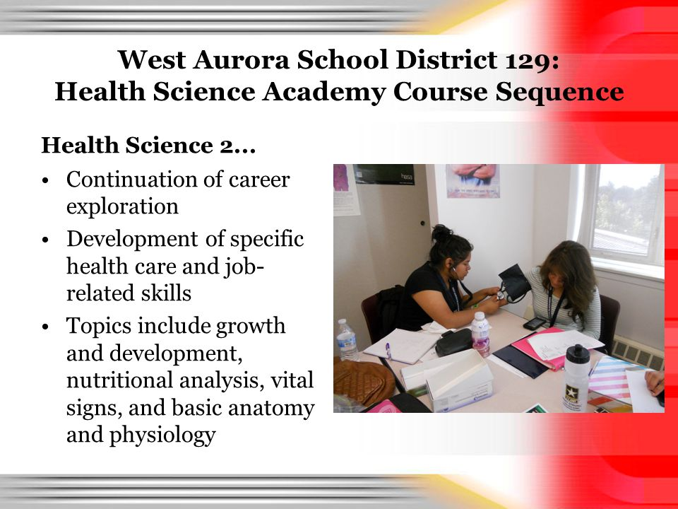 West Aurora School District 129: Health Science Academy Course Sequence Health Science 2... Continuation of career exploration Development of specific