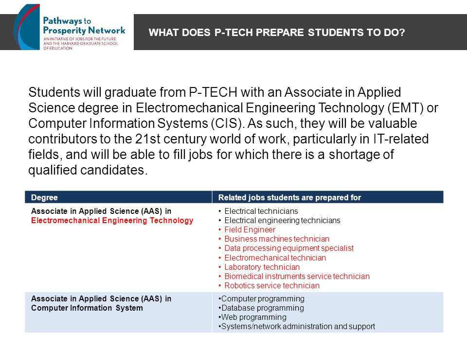 WHAT DOES P-TECH PREPARE STUDENTS TO DO? Students will graduate from P-TECH with an Associate in Applied Science degree in Electromechanical Engineeri