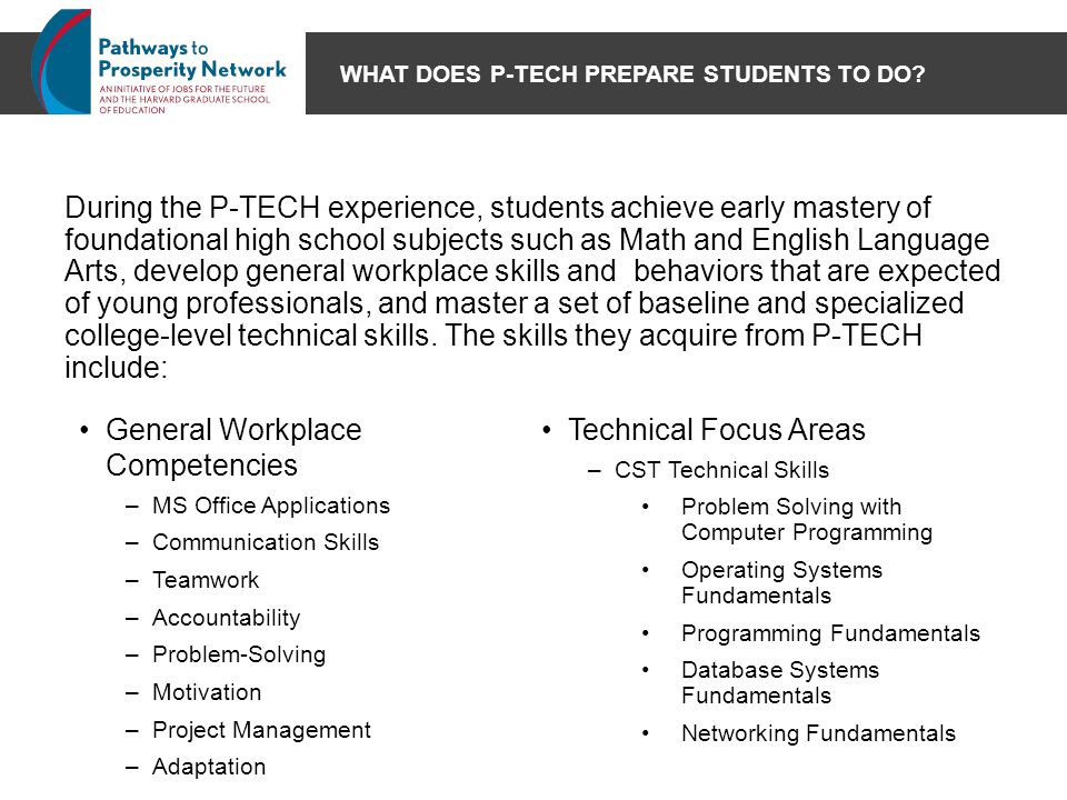 WHAT DOES P-TECH PREPARE STUDENTS TO DO? During the P-TECH experience, students achieve early mastery of foundational high school subjects such as Mat