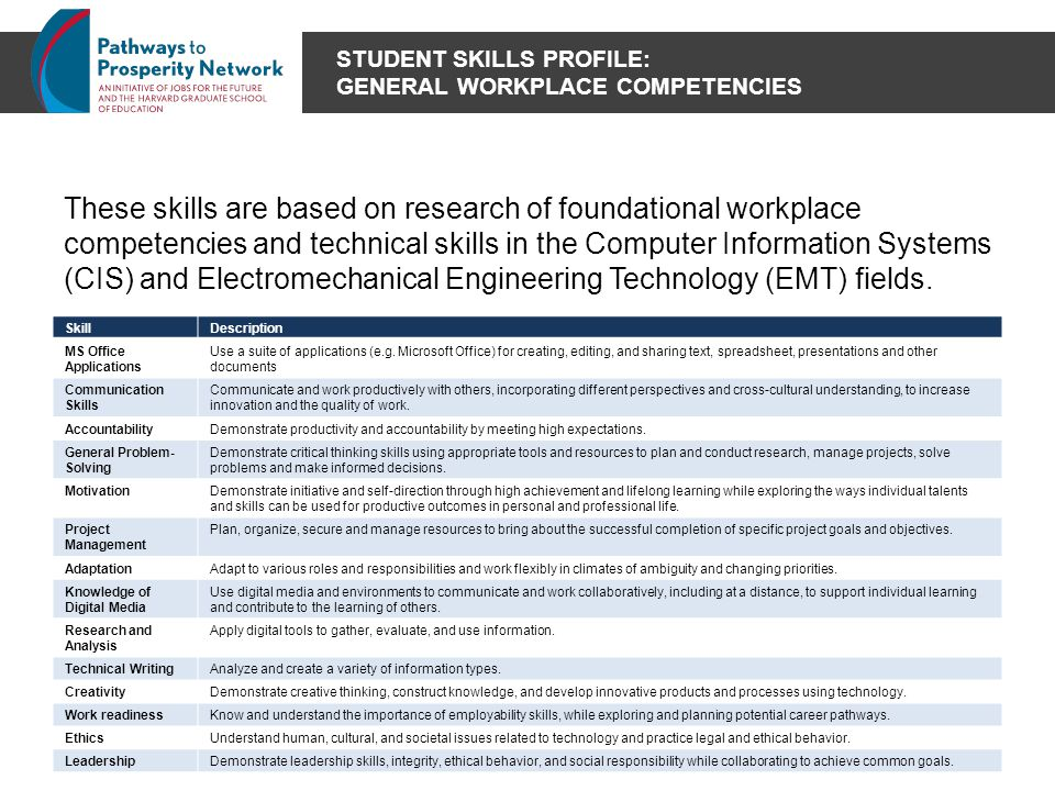 STUDENT SKILLS PROFILE: GENERAL WORKPLACE COMPETENCIES These skills are based on research of foundational workplace competencies and technical skills in the Computer Information Systems (CIS) and Electromechanical Engineering Technology (EMT) fields.