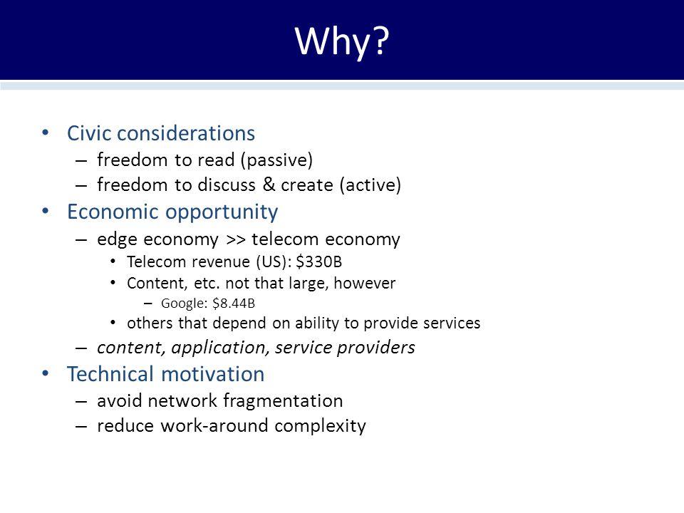 Why? Civic considerations – freedom to read (passive) – freedom to discuss & create (active) Economic opportunity – edge economy >> telecom economy Te