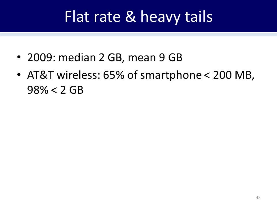 Flat rate & heavy tails 2009: median 2 GB, mean 9 GB AT&T wireless: 65% of smartphone < 200 MB, 98% < 2 GB 43