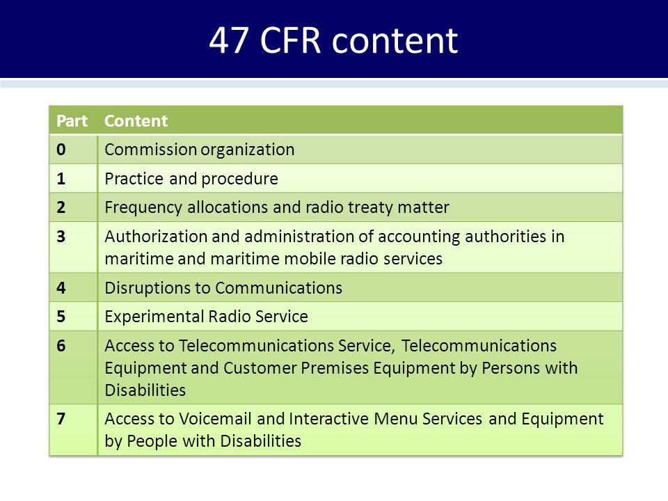 47 CFR content