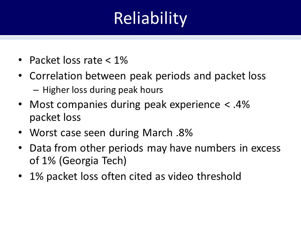 Reliability Packet loss rate < 1% Correlation between peak periods and packet loss – Higher loss during peak hours Most companies during peak experience <.4% packet loss Worst case seen during March.8% Data from other periods may have numbers in excess of 1% (Georgia Tech) 1% packet loss often cited as video threshold