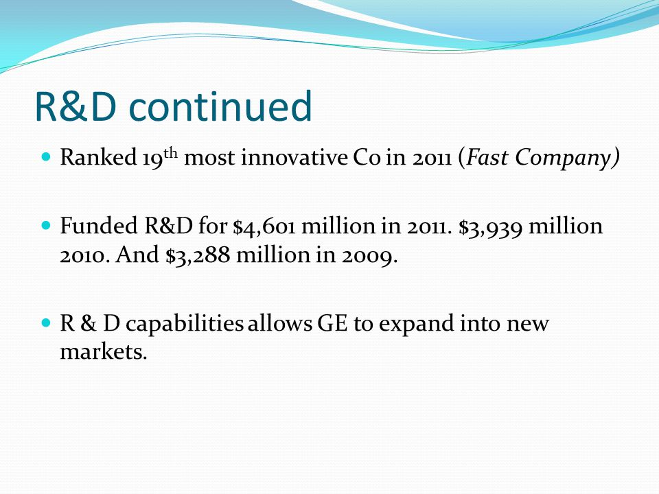 R&D continued Ranked 19 th most innovative Co in 2011 (Fast Company) Funded R&D for $4,601 million in 2011.