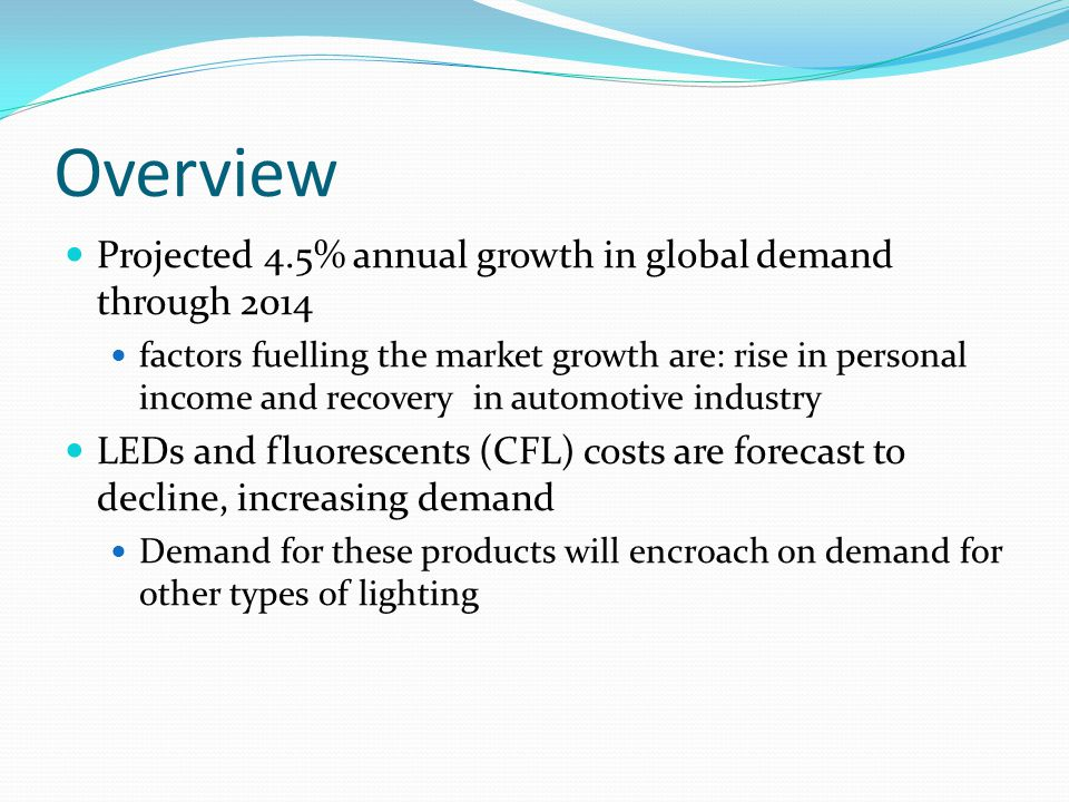 Overview Projected 4.5% annual growth in global demand through 2014 factors fuelling the market growth are: rise in personal income and recovery in automotive industry LEDs and fluorescents (CFL) costs are forecast to decline, increasing demand Demand for these products will encroach on demand for other types of lighting