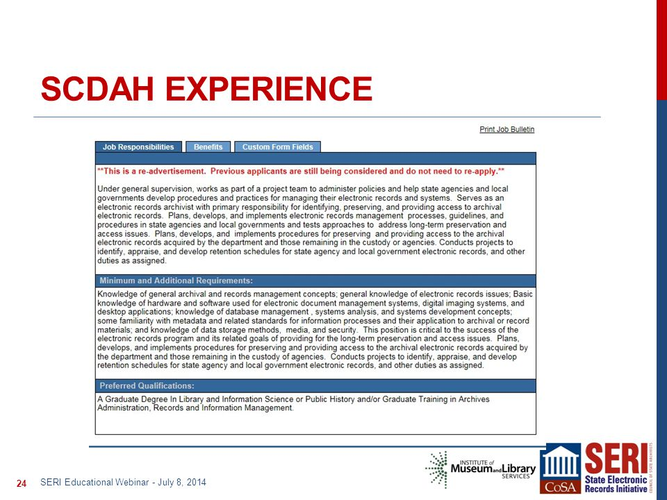 SCDAH EXPERIENCE SERI Educational Webinar - July 8, 2014 24