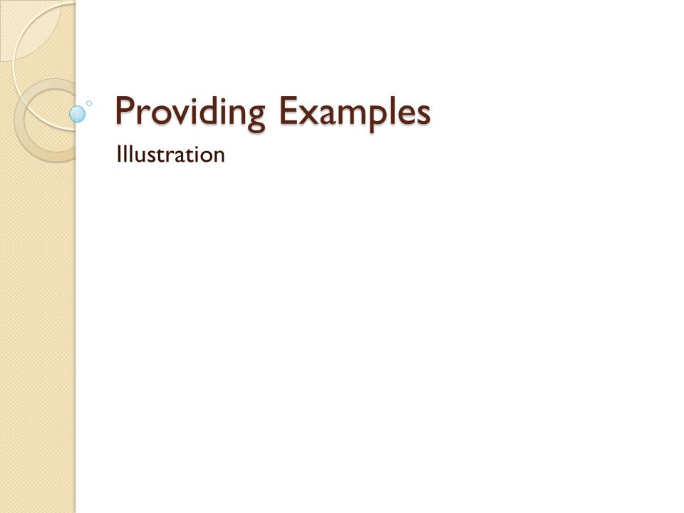 Providing Examples Illustration
