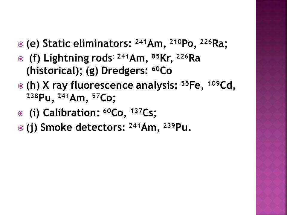  (e) Static eliminators: 241 Am, 210 Po, 226 Ra;  (f) Lightning rods : 241 Am, 85 Kr, 226 Ra (historical); (g) Dredgers: 60 Co  (h) X ray fluorescence analysis: 55 Fe, 109 Cd, 238 Pu, 241 Am, 57 Co;  (i) Calibration: 60 Co, 137 Cs;  (j) Smoke detectors: 241 Am, 239 Pu.