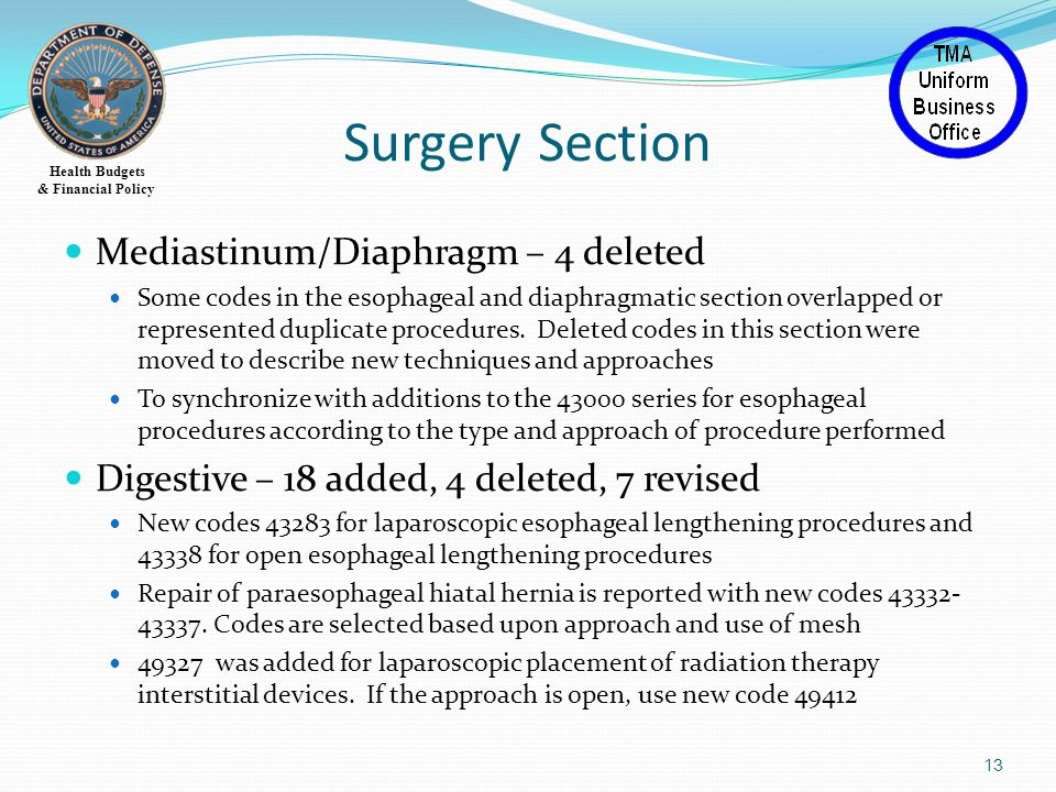 Health Budgets & Financial Policy Surgery Section Mediastinum/Diaphragm – 4 deleted Some codes in the esophageal and diaphragmatic section overlapped or represented duplicate procedures.
