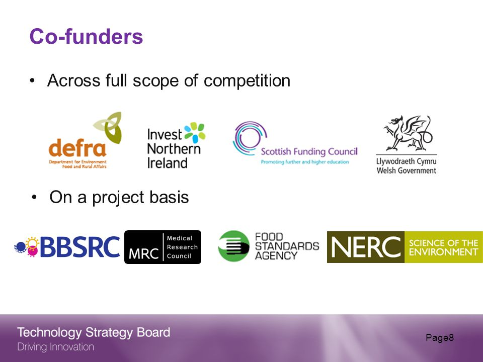 Co-funders Across full scope of competition Page8 On a project basis