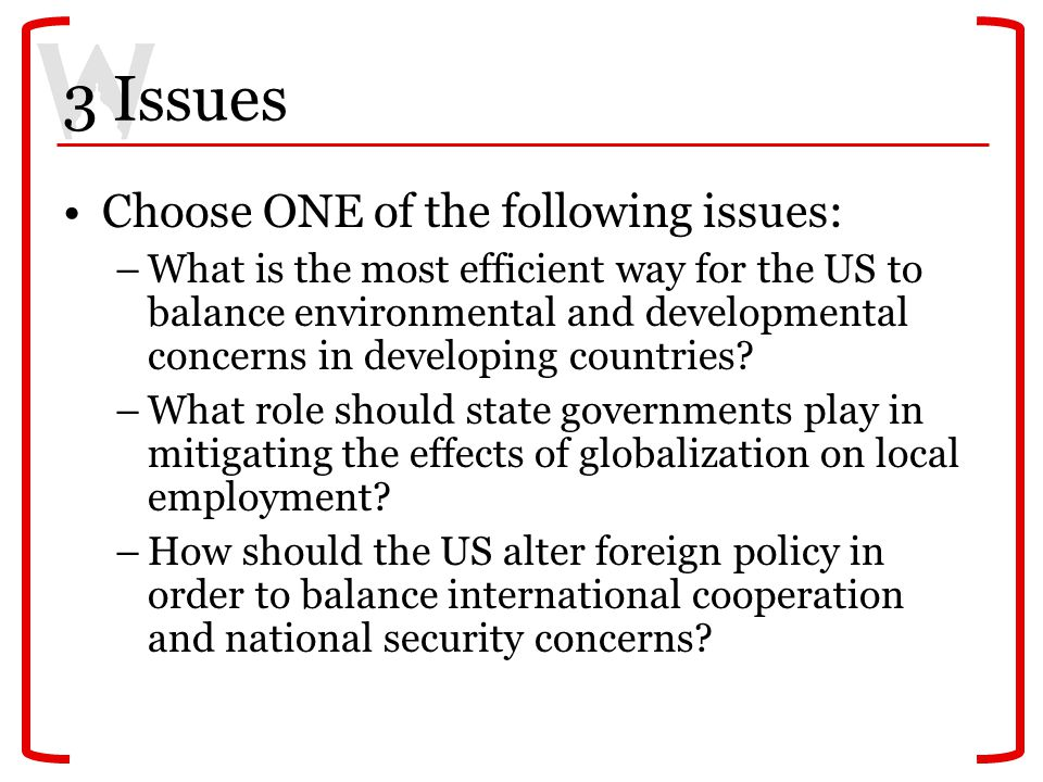 3 Issues Choose ONE of the following issues: –What is the most efficient way for the US to balance environmental and developmental concerns in developing countries.