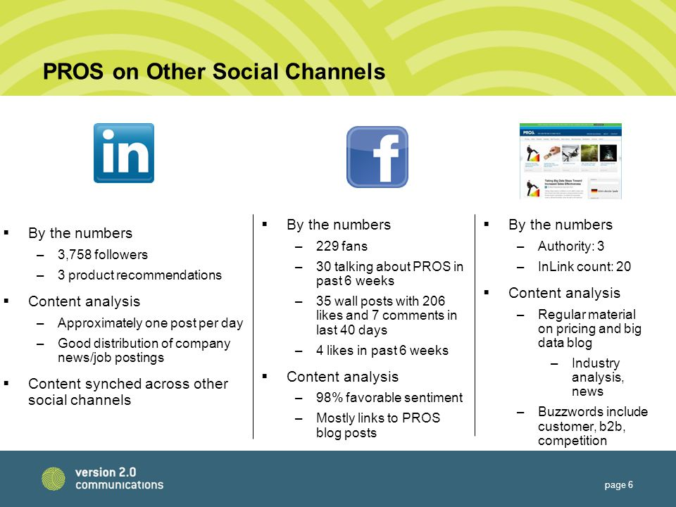 PROS on Other Social Channels  By the numbers –3,758 followers –3 product recommendations  Content analysis –Approximately one post per day –Good distribution of company news/job postings  Content synched across other social channels page 6  By the numbers –229 fans –30 talking about PROS in past 6 weeks –35 wall posts with 206 likes and 7 comments in last 40 days –4 likes in past 6 weeks  Content analysis –98% favorable sentiment –Mostly links to PROS blog posts  By the numbers –Authority: 3 –InLink count: 20  Content analysis –Regular material on pricing and big data blog –Industry analysis, news –Buzzwords include customer, b2b, competition