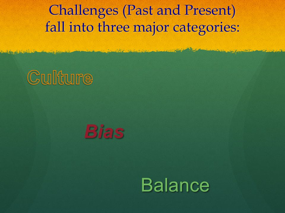 Challenges (Past and Present) fall into three major categories: