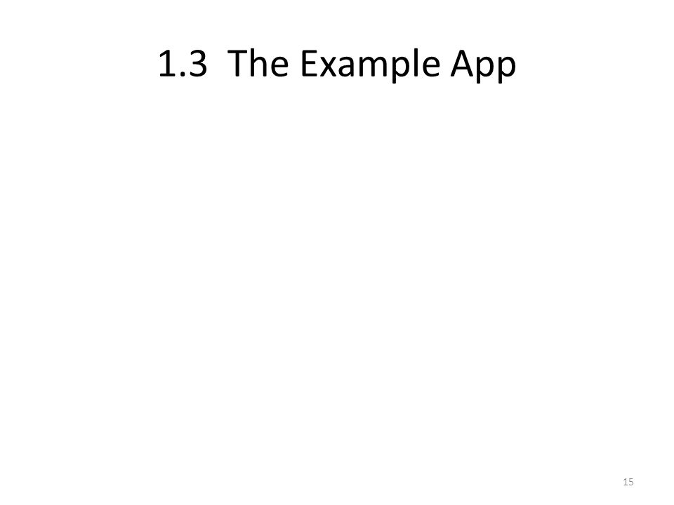 1.3 The Example App 15