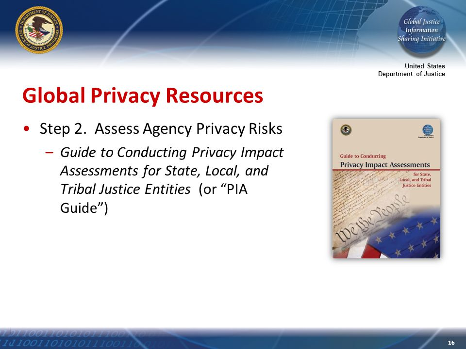 United States Department of Justice 16 Global Privacy Resources Step 2.
