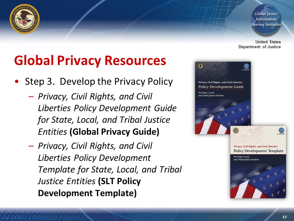 United States Department of Justice 17 Global Privacy Resources Step 3.
