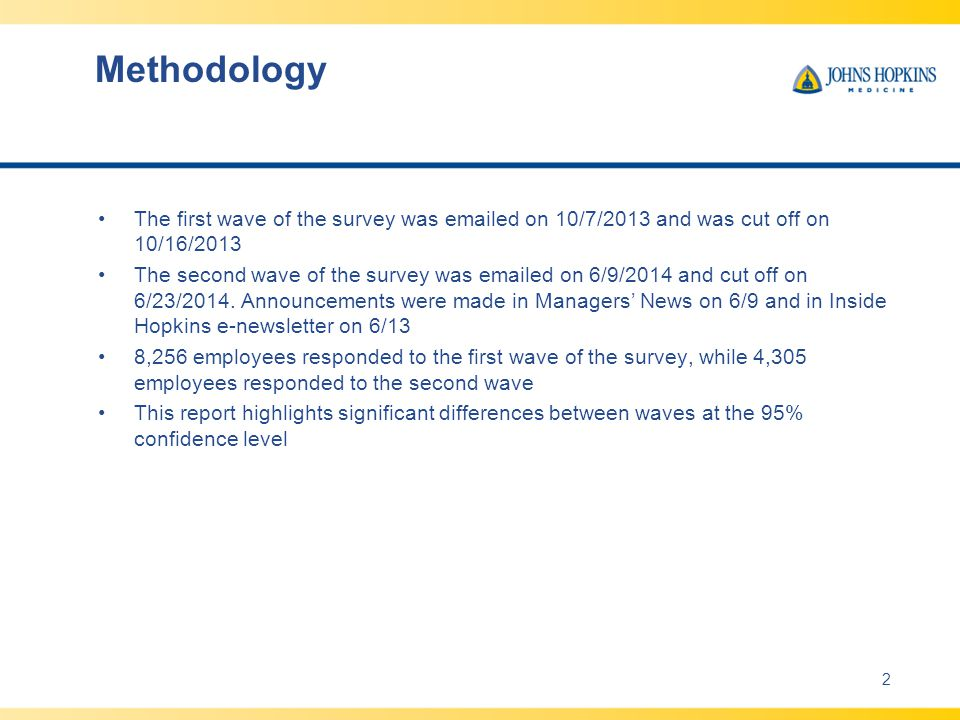 Methodology The first wave of the survey was emailed on 10/7/2013 and was cut off on 10/16/2013 The second wave of the survey was emailed on 6/9/2014 and cut off on 6/23/2014.