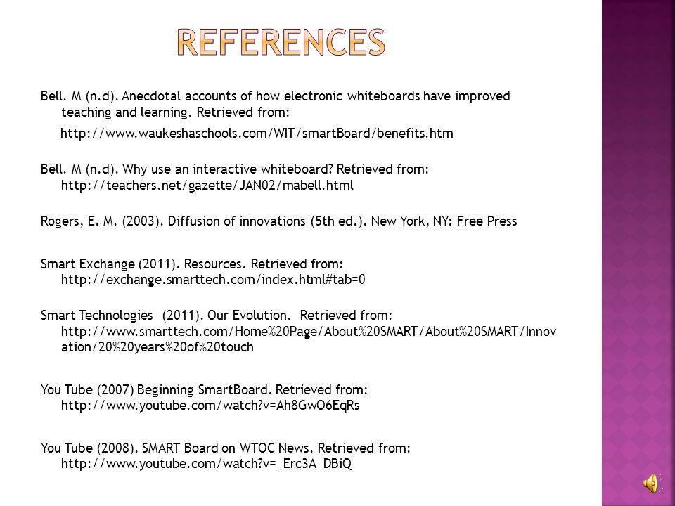 http://teachers.net/gazette/JAN02/mabell.html http://www.waukeshaschools.com/WIT/smartBoard /benefits.htm