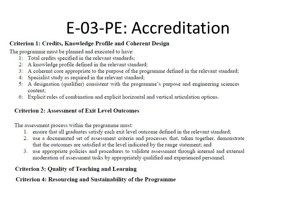 E-03-PE: Accreditation
