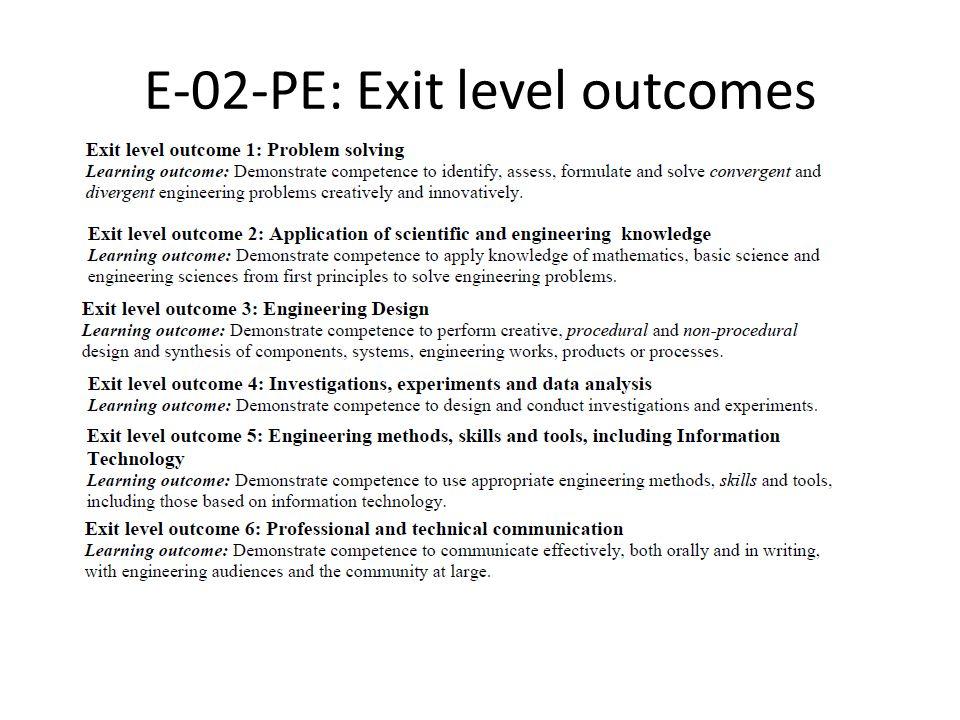 E-02-PE: Exit level outcomes