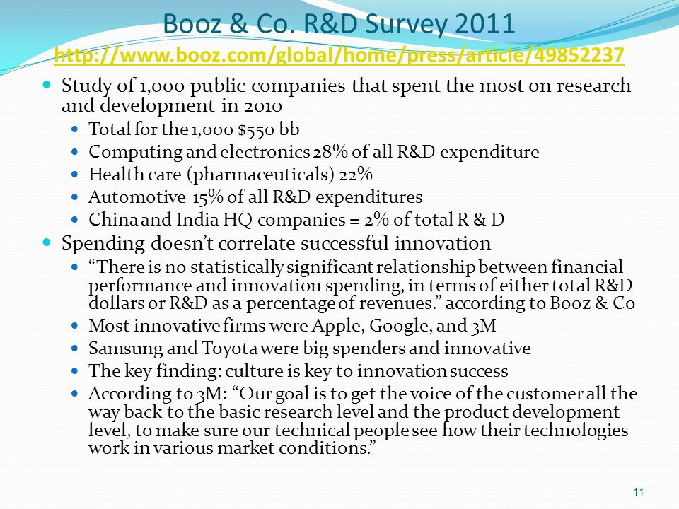 Booz & Co. R&D Survey 2011 http://www.booz.com/global/home/press/article/49852237 http://www.booz.com/global/home/press/article/49852237 Study of 1,00