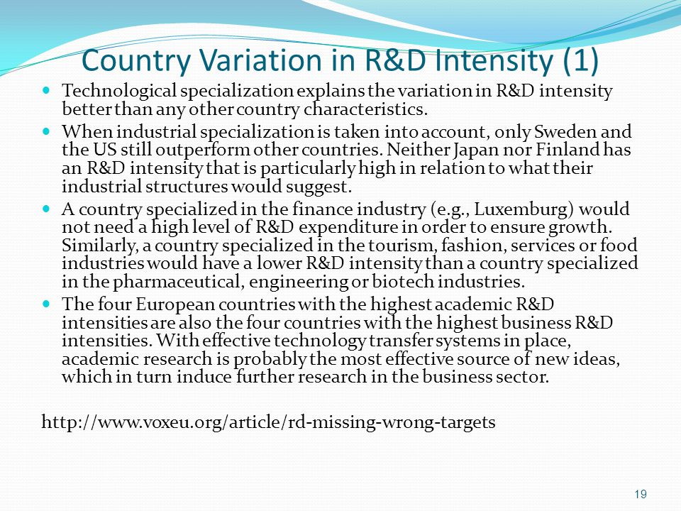 Country Variation in R&D Intensity (1) Technological specialization explains the variation in R&D intensity better than any other country characterist