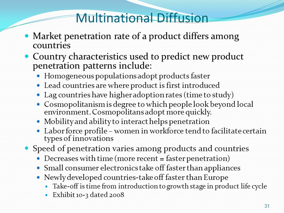 Multinational Diffusion Market penetration rate of a product differs among countries Country characteristics used to predict new product penetration p