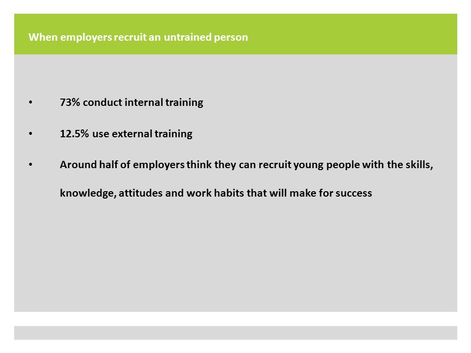 When employers recruit an untrained person 73% conduct internal training 12.5% use external training Around half of employers think they can recruit young people with the skills, knowledge, attitudes and work habits that will make for success