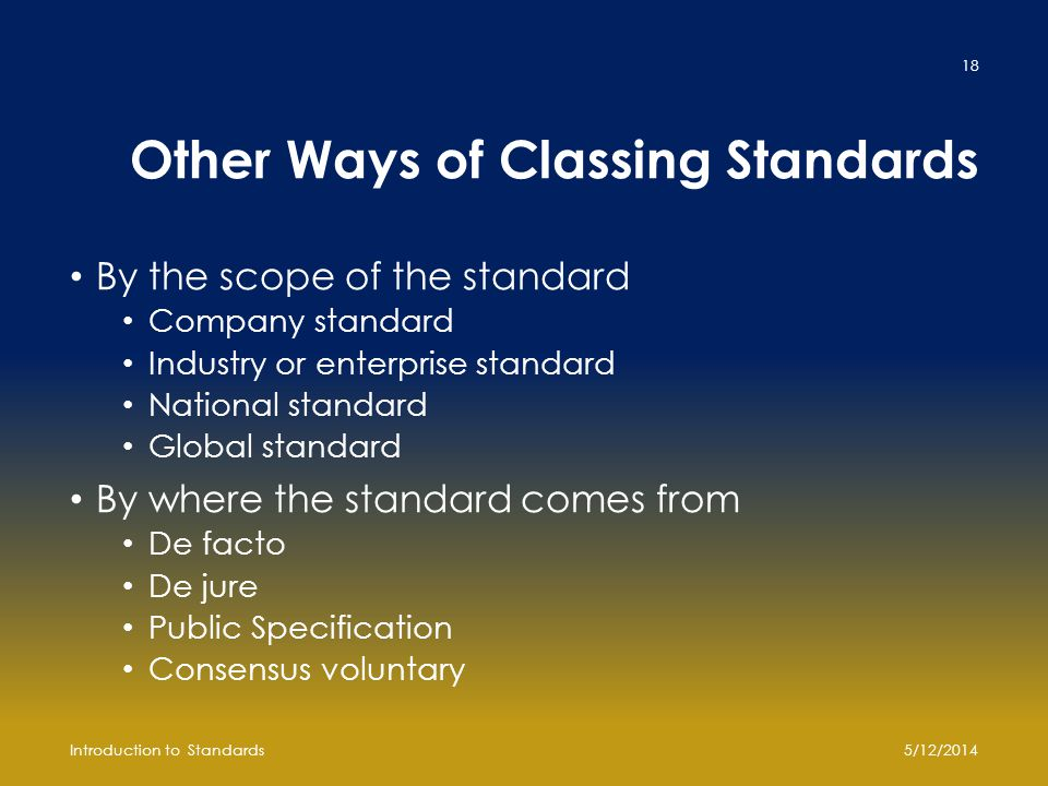 Other Ways of Classing Standards By the scope of the standard Company standard Industry or enterprise standard National standard Global standard By wh