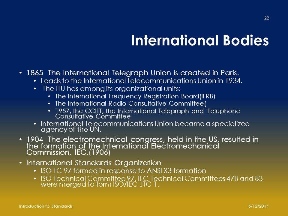 International Bodies 1865The International Telegraph Union is created in Paris.