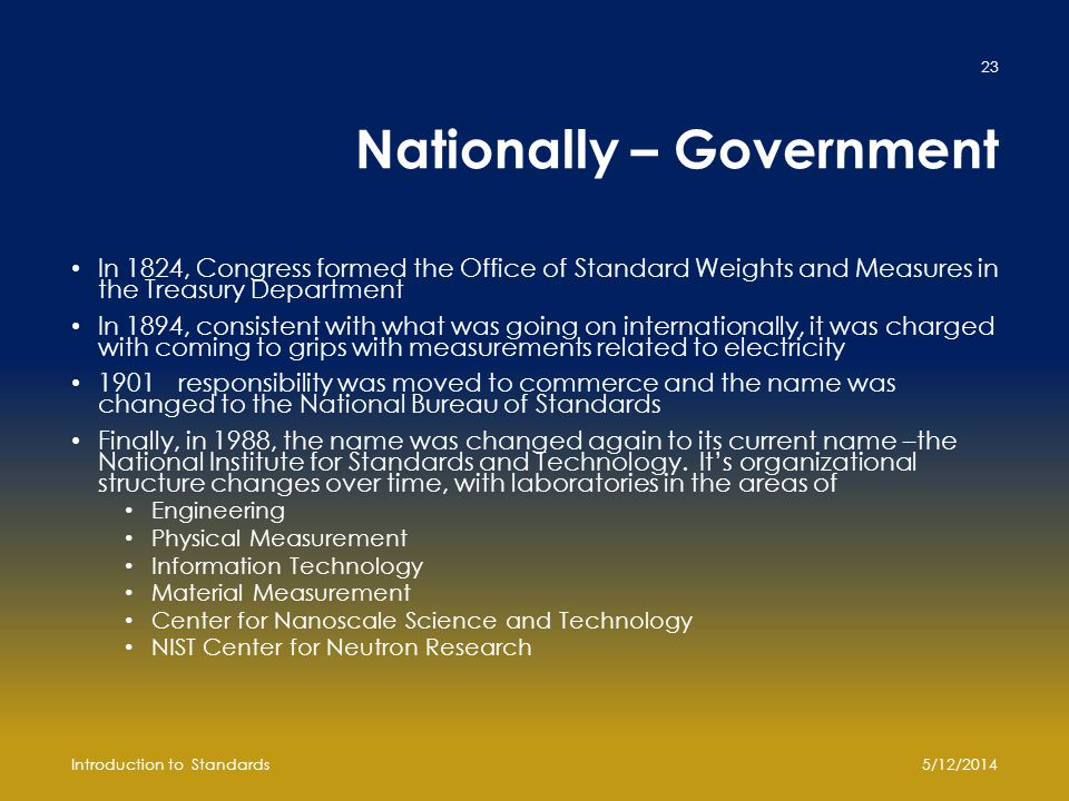 Nationally – Government In 1824, Congress formed the Office of Standard Weights and Measures in the Treasury Department In 1894, consistent with what