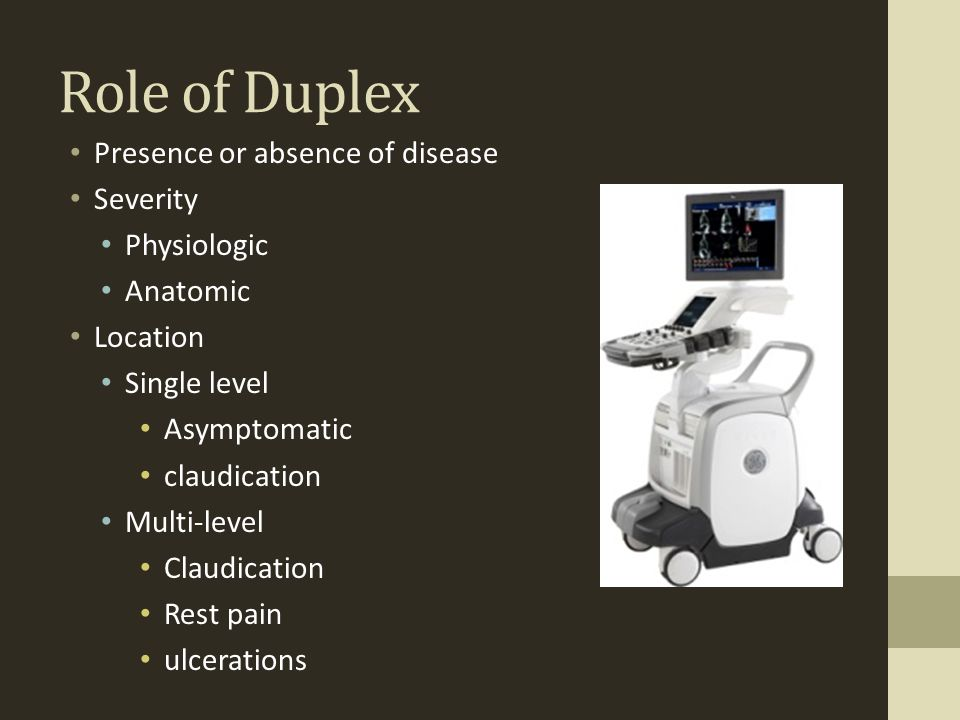Role of Duplex Presence or absence of disease Severity Physiologic Anatomic Location Single level Asymptomatic claudication Multi-level Claudication R