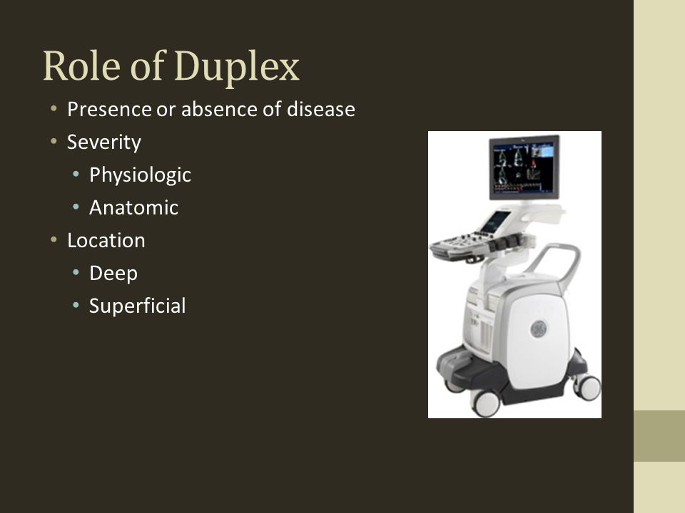 Role of Duplex Presence or absence of disease Severity Physiologic Anatomic Location Deep Superficial