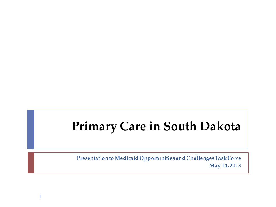 Presentation to Medicaid Opportunities and Challenges Task Force May 14, 2013 Primary Care in South Dakota 1