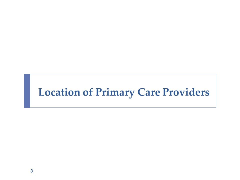 Location of Primary Care Providers 8