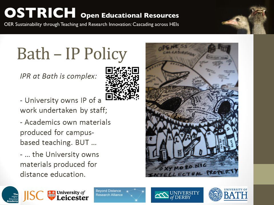Bath – IP Policy IPR at Bath is complex: - University owns IP of all work undertaken by staff; - Academics own materials produced for campus- based te