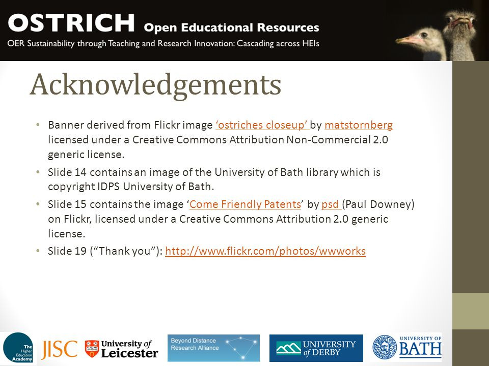 Acknowledgements Banner derived from Flickr image 'ostriches closeup' by matstornberg licensed under a Creative Commons Attribution Non-Commercial 2.0