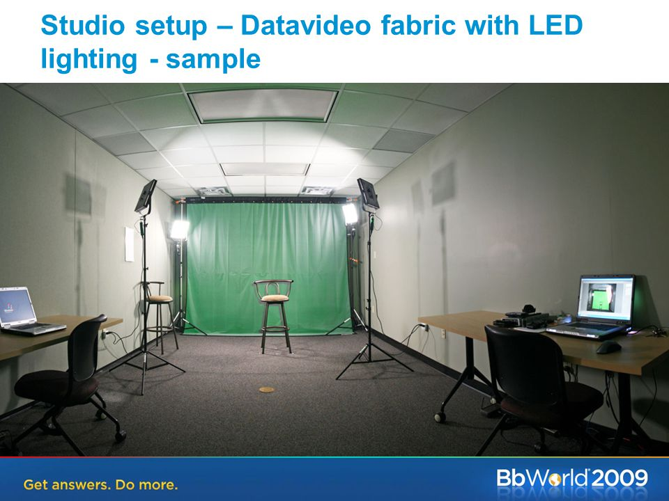 Studio setup – Datavideo fabric with LED lighting - sample