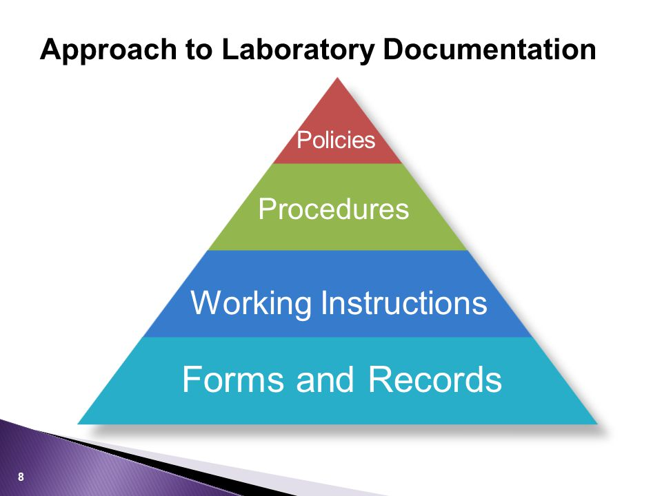 Approach to Laboratory Documentation Policies Procedures Working Instructions Forms and Records 8