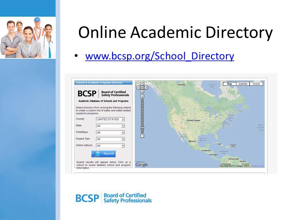 Online Academic Directory www.bcsp.org/School_Directory