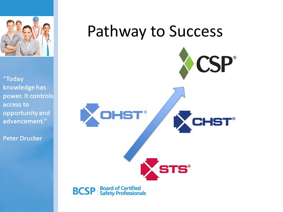BCSP Certifications and Designations Professional: – Associate Safety Professional (ASP) – (designation; soon to be certification) – Graduate Safety Practitioner (GSP) – (designation) – Certified Safety Professional (CSP) Technician, Technologist, Supervisor: – Occupational Health and Safety Technologist (OHST) – Construction Health and Safety Technician (CHST) – Safety Trainer Supervisor (STS) – General Ind., Construction, Petrochemical, Mining Trainer: – Certified Environmental, Safety and Health Trainer (CET)