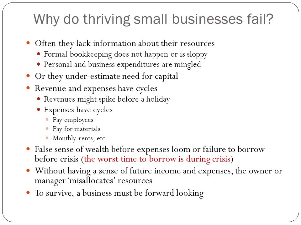 Why do thriving small businesses fail? Often they lack information about their resources Formal bookkeeping does not happen or is sloppy Personal and