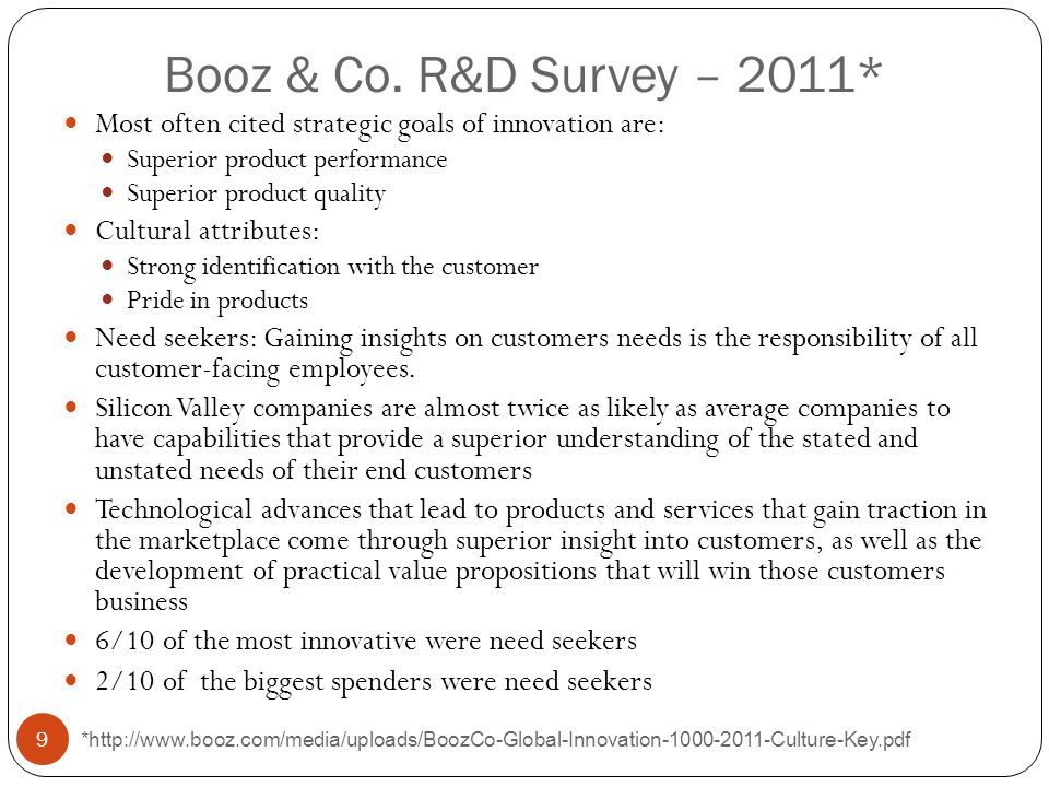 Booz & Co. R&D Survey – 2011* Most often cited strategic goals of innovation are: Superior product performance Superior product quality Cultural attri